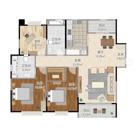 中海寰宇天下3室1厅3卫1厨162.00㎡户型图
