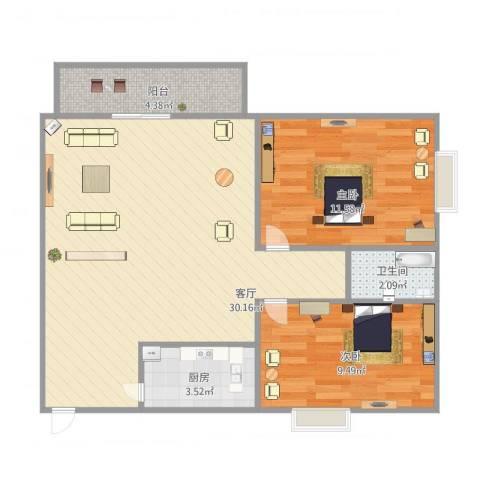 康怡花园2室1厅1卫1厨82.00㎡户型图