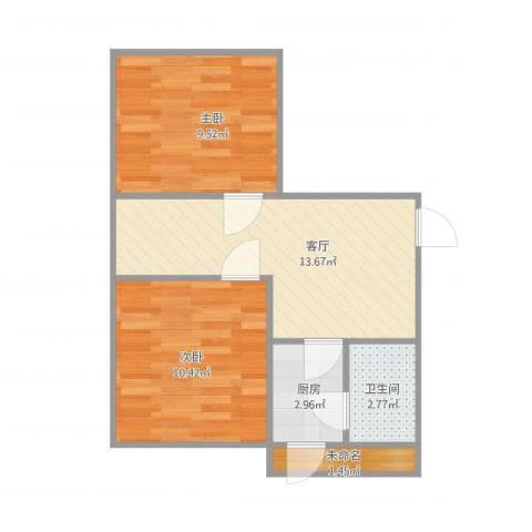 连荣里2室1厅1卫1厨56.00㎡户型图