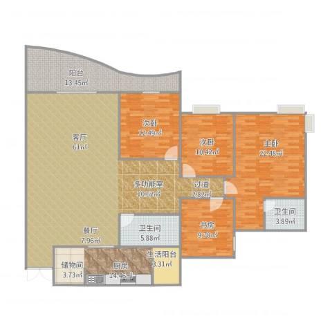 华宇渝州新都4室1厅2卫1厨205.00㎡户型图