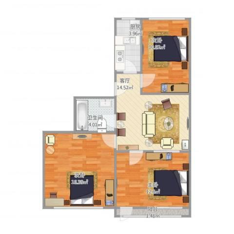 丰西北里3室1厅1卫1厨86.00㎡户型图