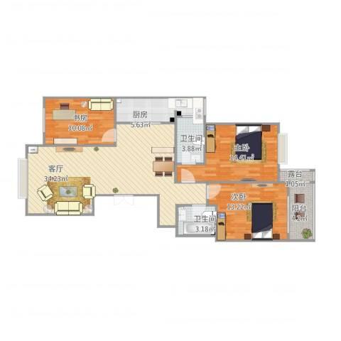 建华新村3室1厅2卫1厨122.00㎡户型图