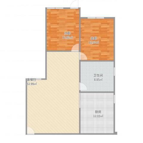 新江南花园2室1厅1卫1厨104.00㎡户型图