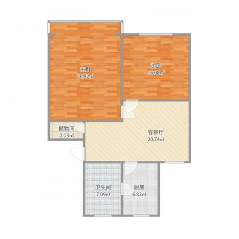 香山新村西北街坊2室1厅1卫1厨106.00㎡户型图