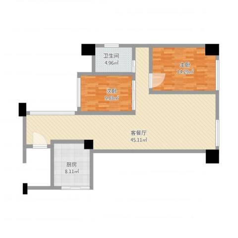 丰泰东海山庄2室1厅1卫1厨118.00㎡户型图