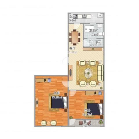 华信花园5-1-1012室1厅2卫1厨123.00㎡户型图