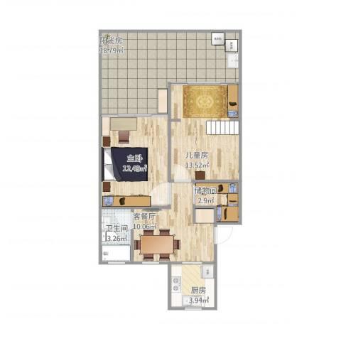 龙州小区2室1厅1卫1厨70.47㎡户型图