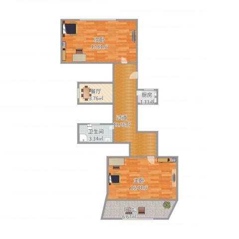 汪家井小区2室1厅1卫1厨85.00㎡户型图