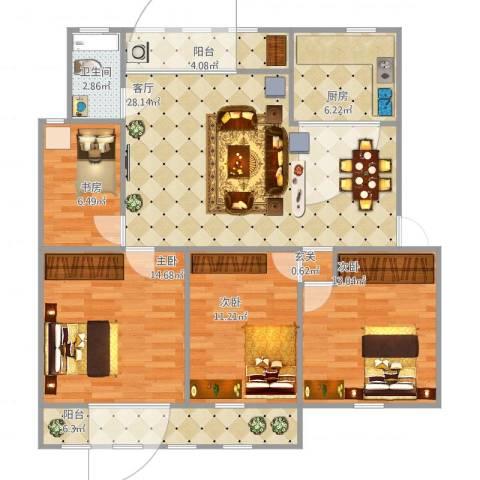 北苑阁新村4室1厅1卫1厨112.00㎡户型图