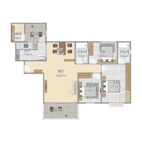 南沙碧桂园3室1厅2卫1厨129.00㎡户型图