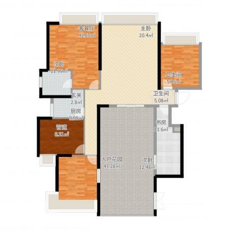 国际邮轮城一期4室1厅2卫1厨225.00㎡户型图