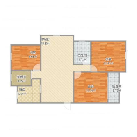 华林家园3室2厅1卫1厨106.00㎡户型图