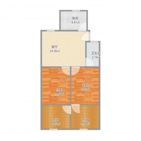 呼玛三村2室1厅1卫1厨71.00㎡户型图