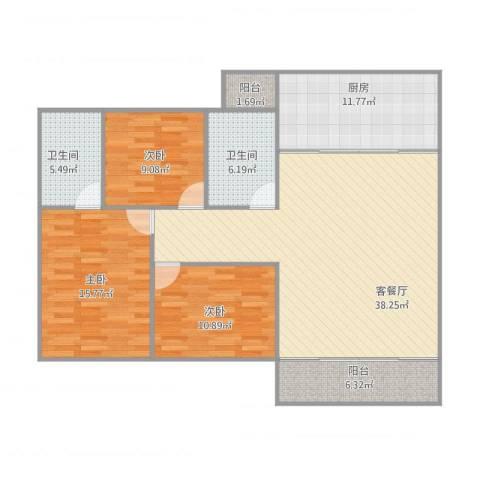 碧琴湾3室1厅2卫1厨141.00㎡户型图