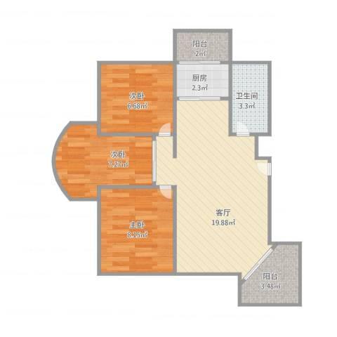艾菲尔花园3室1厅1卫1厨73.00㎡户型图