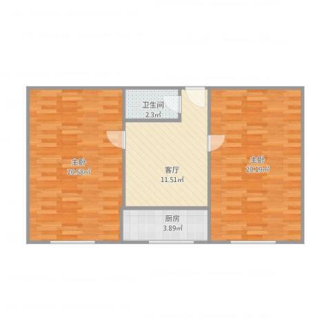 怡和街2室1厅1卫1厨78.00㎡户型图