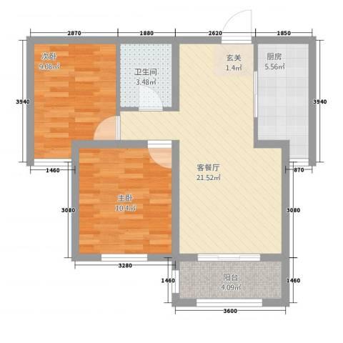 馨视界・花城2室1厅1卫1厨78.00㎡户型图