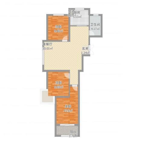 浪琴湾3室1厅2卫1厨108.00㎡户型图
