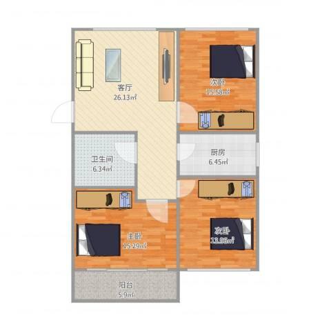 佳旺花园3室1厅1卫1厨120.00㎡户型图