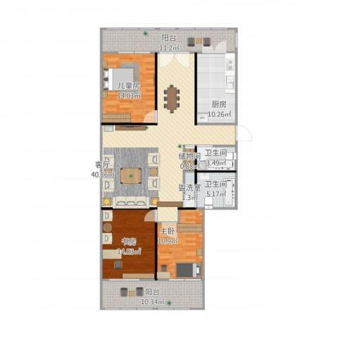 康鸿家园3室2厅2卫1厨165.00㎡户型图