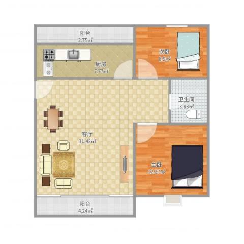 侨福城2室1厅1卫1厨98.00㎡户型图