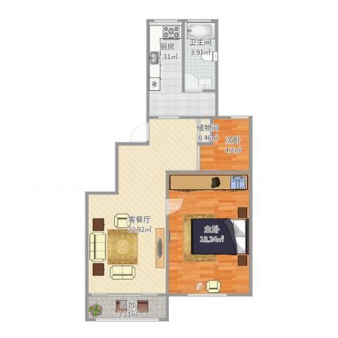 明丰佳园2室1厅1卫1厨82.00㎡户型图