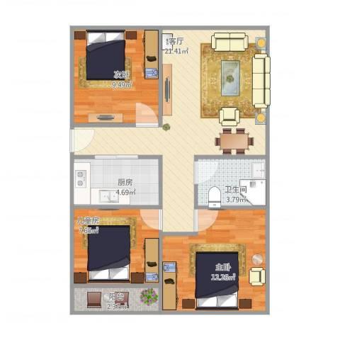 华林绿洲花园3室1厅1卫1厨83.00㎡户型图