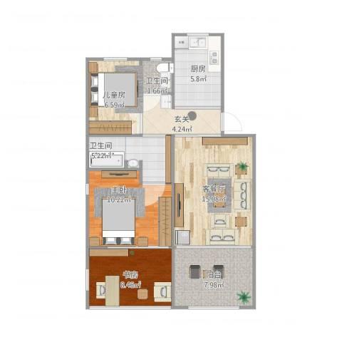 二号新村3室1厅2卫1厨89.00㎡户型图