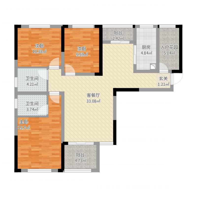 雨花区湘府邻伴小区1-a户型图3室2厅2卫128.16㎡