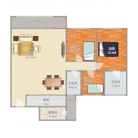 建丽花园3室1厅2卫1厨174.00㎡户型图