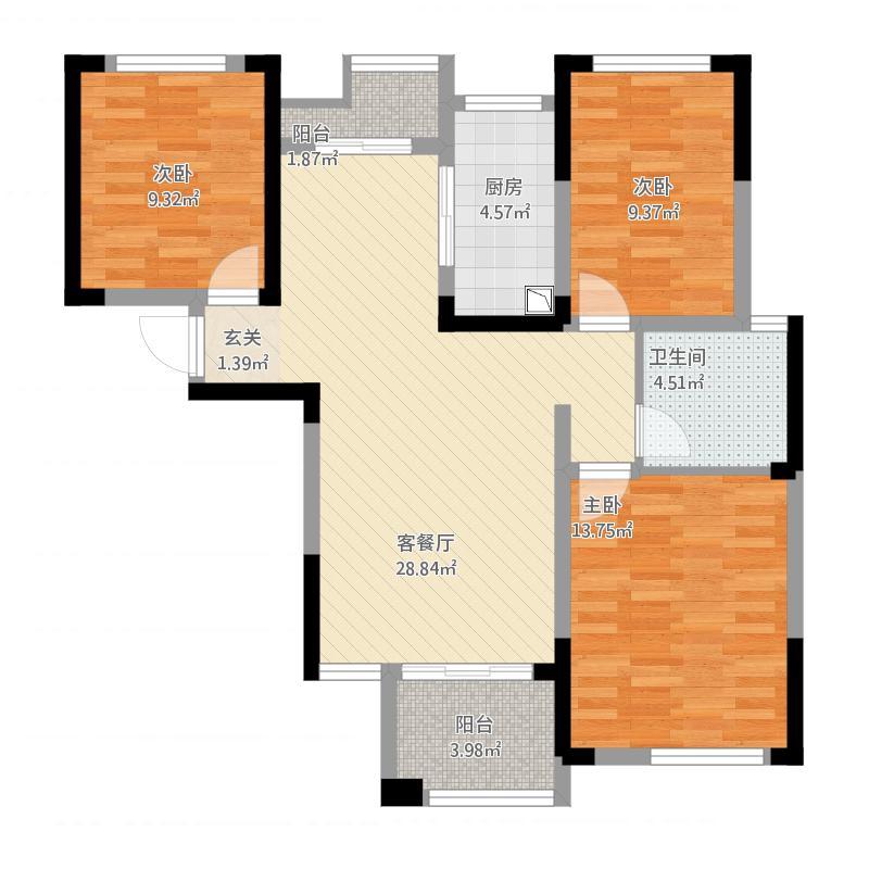 雨花区湘府邻伴1-c户型图3室2厅1卫105.4㎡