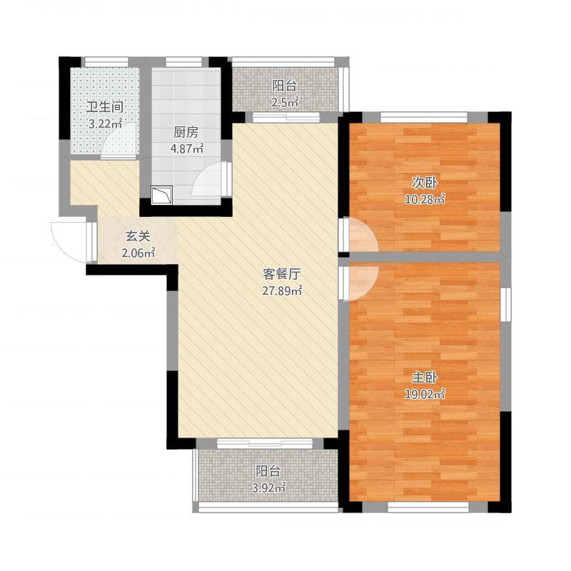 雨花区湘府邻伴1-F户型图2室2厅1卫98.79㎡