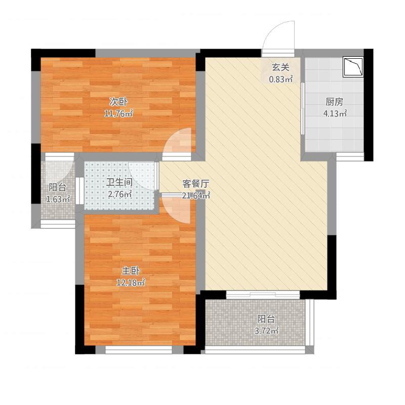 雨花区湘府邻伴3-b户型图2室2厅1卫76.86㎡