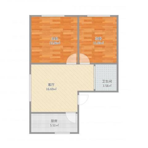 御景名都2室1厅1卫1厨68.00㎡户型图