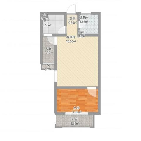 隆昊昊博园1室1厅1卫1厨64.00㎡户型图