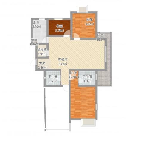 水岸人家3室1厅2卫1厨125.00㎡户型图