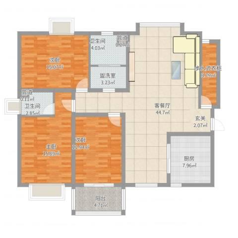 阳光・城市花园3室2厅2卫1厨165.00㎡户型图
