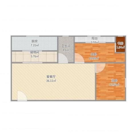 富景楼3室1厅1卫1厨109.00㎡户型图