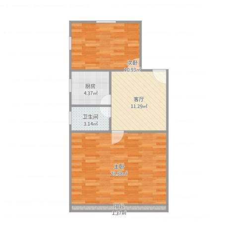 港驳小区2室1厅1卫1厨74.00㎡户型图