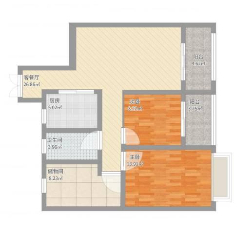 香缇豪庭2室1厅1卫1厨110.00㎡户型图