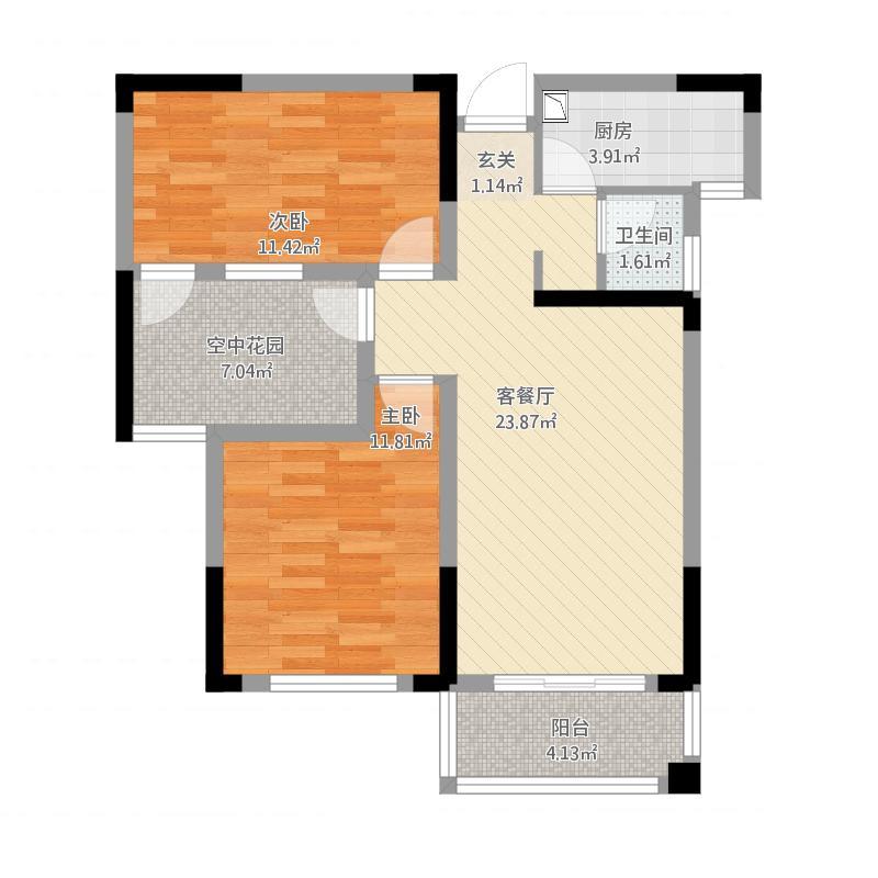 雨花区湘府邻伴6-b户型图2室2厅1卫81.36㎡