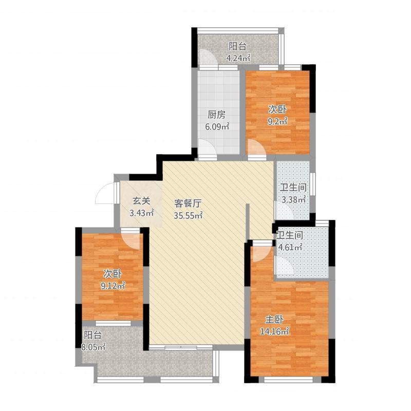 雨花区湘府邻伴7-b户型图3室2厅2卫134.24㎡