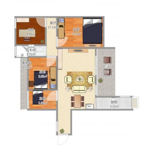 中惠沁林山庄二期4室1厅1卫1厨58.00㎡户型图