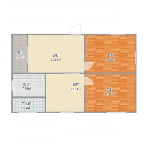 红棉苑3#6022室2厅1卫1厨119.00㎡户型图