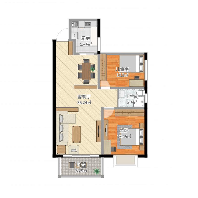 晨昕怡园-G户型-83平-两室两厅