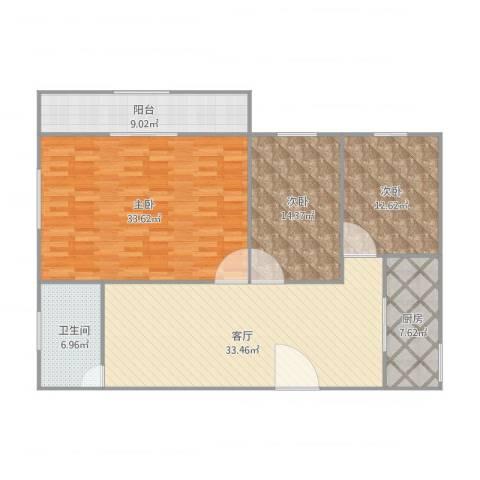 紫荆南苑3室1厅1卫1厨156.00㎡户型图