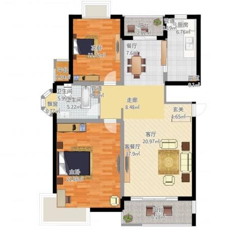 越湖名邸2室1厅1卫1厨134.00㎡户型图