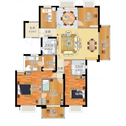 栖霞栖园4室1厅3卫1厨203.00㎡户型图