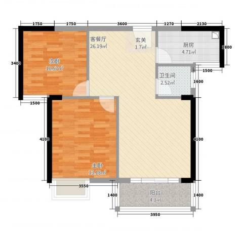 世纪星城2室1厅1卫1厨82.00㎡户型图