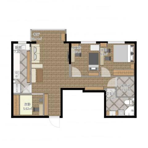 航天城小区3室1厅1卫1厨93.00㎡户型图